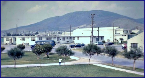 This shows the main road that went from the main gate down to the flight line.  The larger building on the right is the base movie theater.  I think this may have been taken from near the tennis courts, but I'm not sure of that or what the other buildings were.