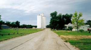 The wheat elevator at Natoma, Kansas.  Notice that the tracks of the Lincoln Branch Line have been pulled up.