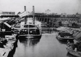 The old port of Houston on Buffalo Bayou that was used from the early days of the city until 1914 when what is now the Port of Houston was started about six miles further downstream.