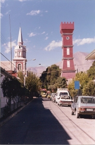 The church and the old German Bauer Tower sit in the center of Vicuña.