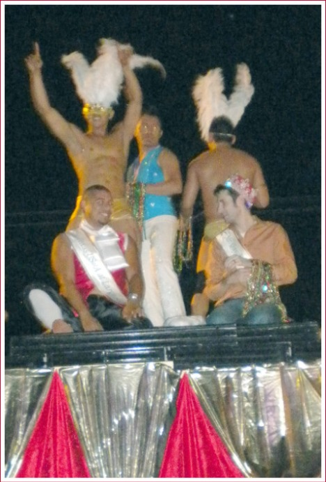 Guys from the Club Crystal float