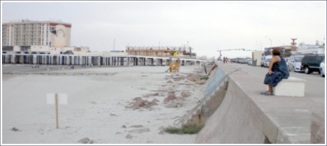 The Galveston Seawall, built to protect the city from hurricanes