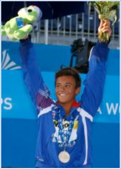 Fifteen-year-old Thomas Daley of Great Britain wins the 10-meter at the World Diving Championships