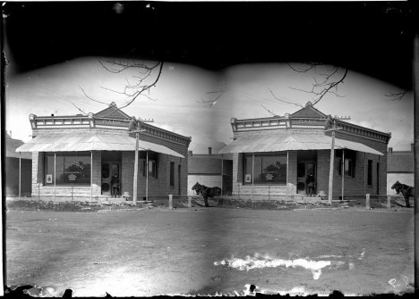 The Citizens State Bank, Dorrance, Kansas, May 26, 1909, by Leslie Halbe.  This building is still standing on Main Street in Dorrance.  It was the office of the Dorrance Telephone Company when I was a little kid and more recently was a barber shop.  Notice how the negatives of the old photos had two images.