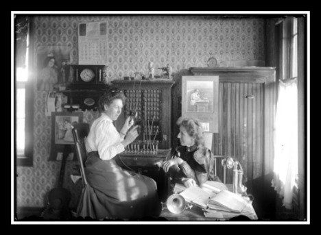 Dorrance Telephone Operators and Office, Nov. 6, 1909.  This photo is probably one of the most popular from the Halbe Collection.