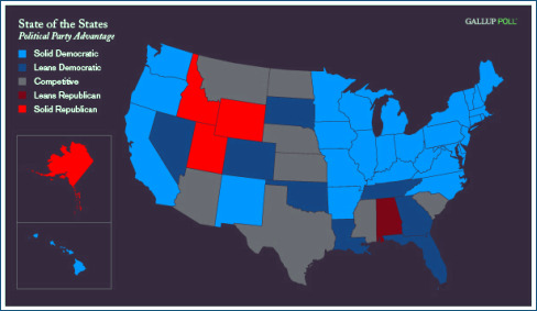 New Gallup Poll Just Out Shows A Preference For Blue Over Red When - Us Map Polls Blue And Red