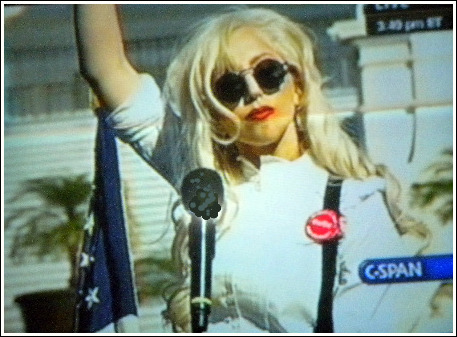 Pop singer, Lady Gaga, speaking at the National Equality March and asking President Obama to take action.