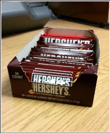 When I was a kid, on my birthday, I'd get to take a box of Hersey candy to school to distribute to my classmates and teacher.  All these years later, I decided to try a repeat and pass them out to all the others at work.